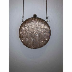 Crystal embellished round clutch